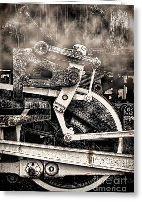 Railway Locomotive Greeting Cards - Wheel and Steam Greeting Card by Olivier Le Queinec