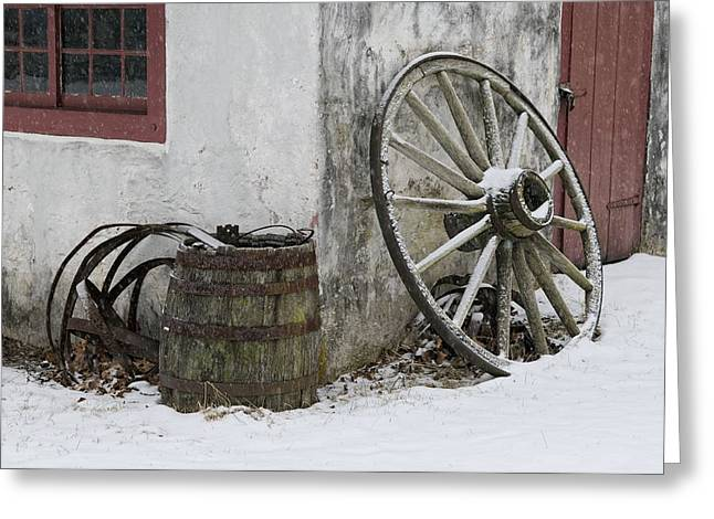 Wagon Wheels Photographs Greeting Cards - Wheel Barrel Greeting Card by Don Schroder