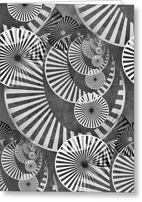 Disk Mixed Media Greeting Cards - Wheel In The Sky BW Greeting Card by Angelina Vick