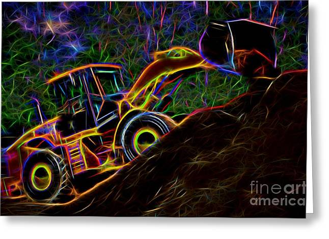 Dirt Pile Greeting Cards - Wheel Loader Moving Dirt - Neon Greeting Card by Gary Whitton
