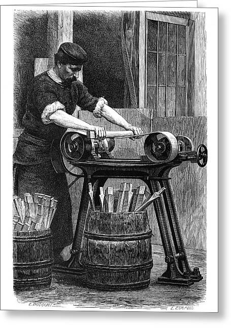 Wheel Manufacturing Greeting Card by Science Photo Library