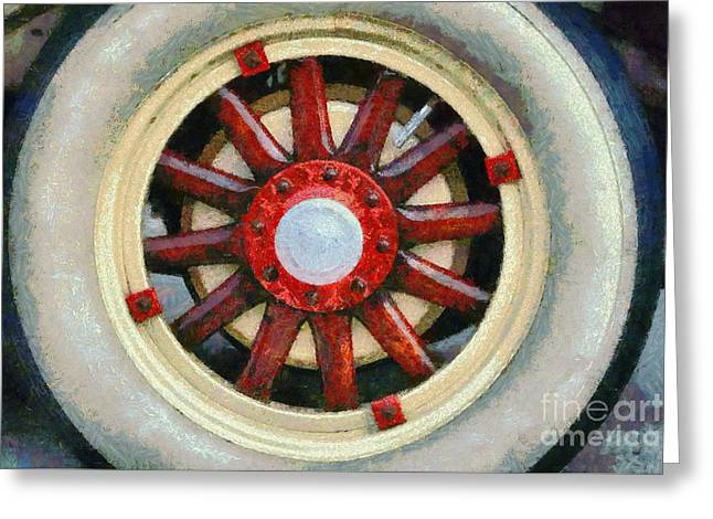 Car Mascot Paintings Greeting Cards - Wheel of 1930 Dodge DA 6 Greeting Card by George Atsametakis