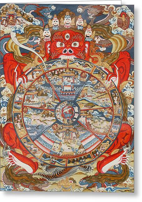 Asia Drawings Greeting Cards - Wheel of life or wheel of Samsara Greeting Card by Unknown
