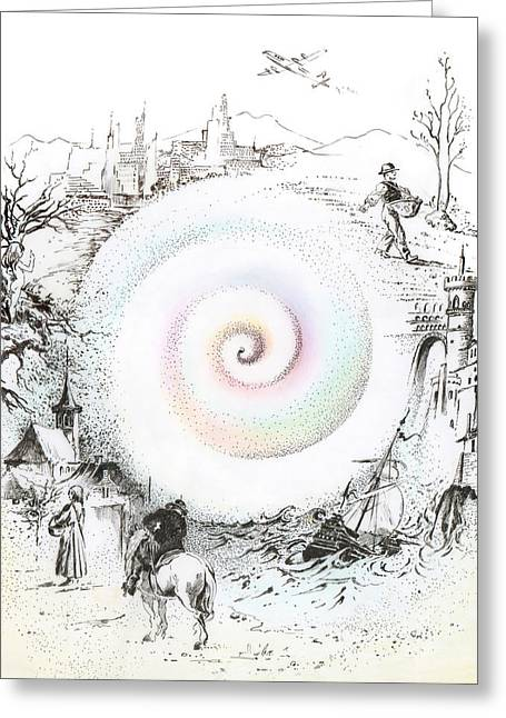 Helix Drawings Greeting Cards - Wheel of Reincarnation Greeting Card by Anna Ewa Miarczynska