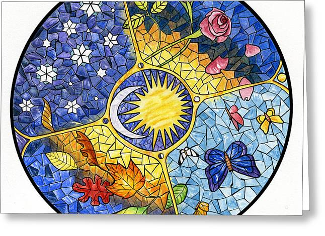 Season Paintings Greeting Cards - Wheel of the Year Greeting Card by Antony Galbraith