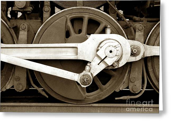 Railway Locomotive Greeting Cards - Wheel Power Greeting Card by Olivier Le Queinec