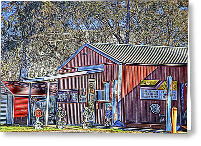 Red Roofed Barn Greeting Cards - Wheel Sales Barn Greeting Card by Linda Phelps