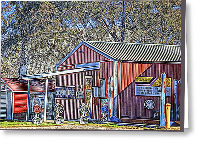 Altered Architecture Greeting Cards - Wheel Sales Barn Greeting Card by Linda Phelps