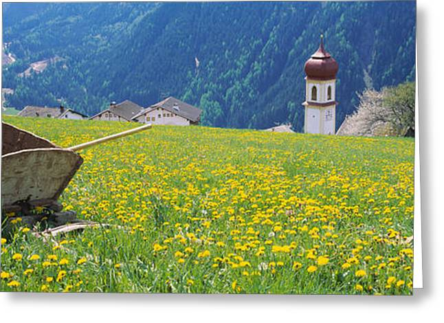Village In Europe Greeting Cards - Wheelbarrow In A Field, Austria Greeting Card by Panoramic Images