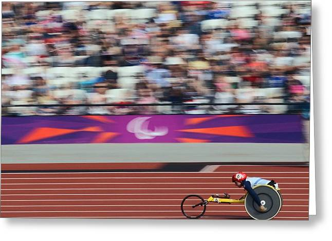 Disability Greeting Cards - Wheelchair 800m race, London Greeting Card by Science Photo Library