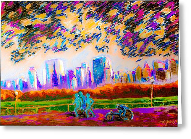 Athlete Pastels Greeting Cards - Wheelchair Athlete and Runners in Central Park of New York City  Greeting Card by Dariusz Janczewski