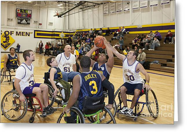 Physically Greeting Cards - Wheelchair Basketball Greeting Card by Jim West