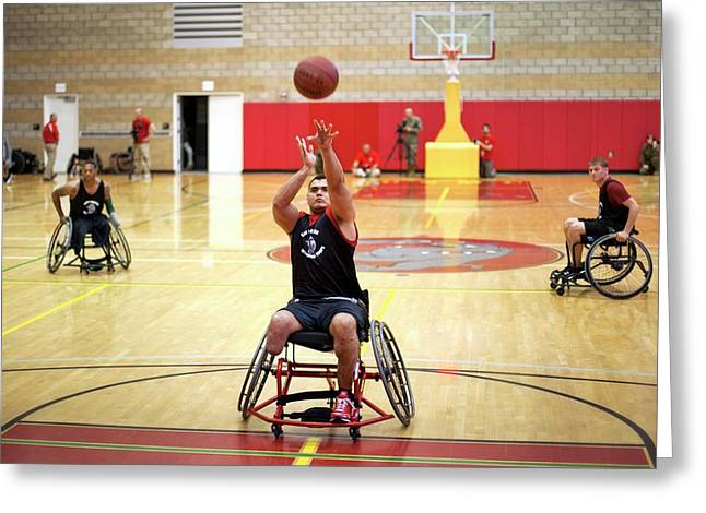 Wheelchair Basketball Greeting Card by Us Air Force/mark Fayloga