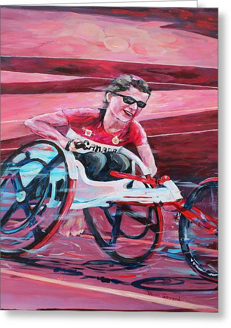 Canada Sports Paintings Greeting Cards - Wheelchair Racing Greeting Card by Naomi Gerrard
