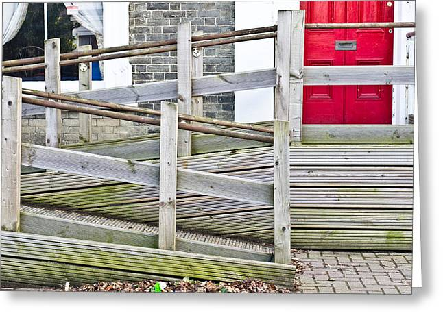 Overcome Greeting Cards - Wheelchair ramp Greeting Card by Tom Gowanlock