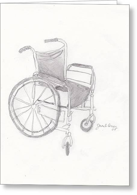 Disability Mixed Media Greeting Cards - Wheelchair Sketch Greeting Card by Janel Bragg