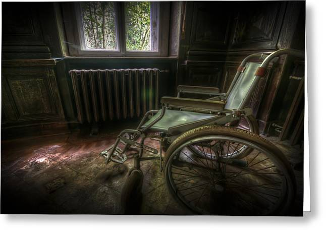 Creepy Digital Greeting Cards - Wheelchair view Greeting Card by Nathan Wright