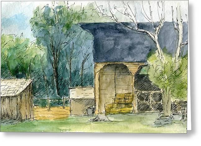 Shed Drawings Greeting Cards - Wheeler Farm Greeting Card by David King