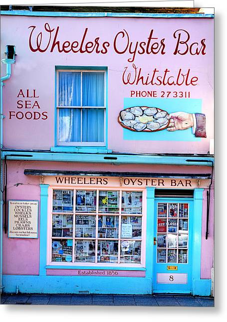 Food And Beverage Greeting Cards - Wheelers Oyster Bar Greeting Card by Mark Rogan