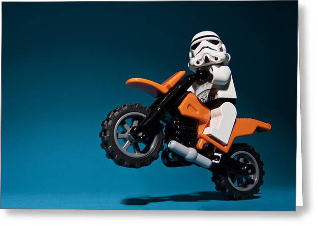 Lego Greeting Cards - Wheelie Greeting Card by Samuel Whitton