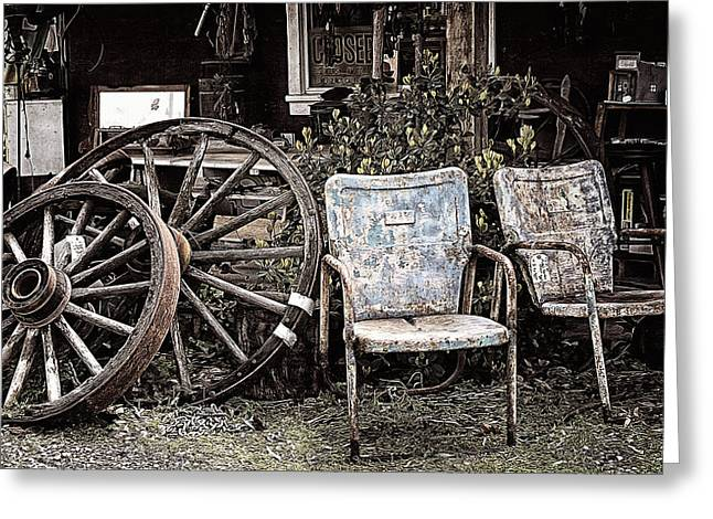 Wheels And Chairs Greeting Card by Ron Regalado