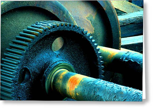 Axle Gear Greeting Cards - Wheels and Gears Greeting Card by Mike Flynn