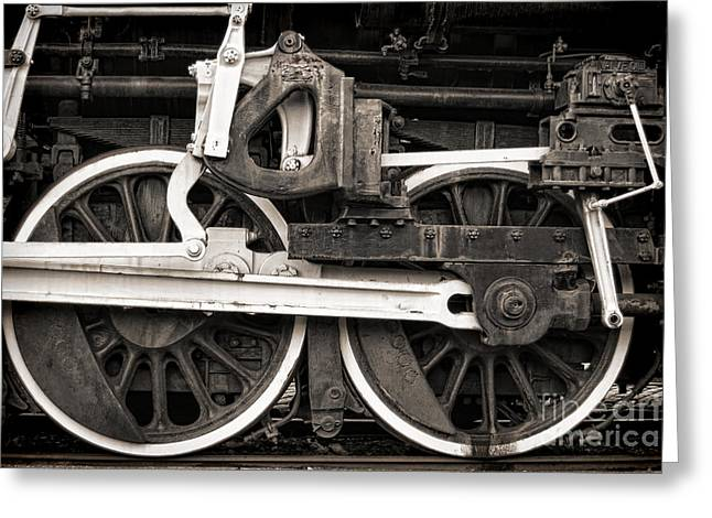 Steam Locomotive Greeting Cards - Wheels and Rods Greeting Card by Olivier Le Queinec
