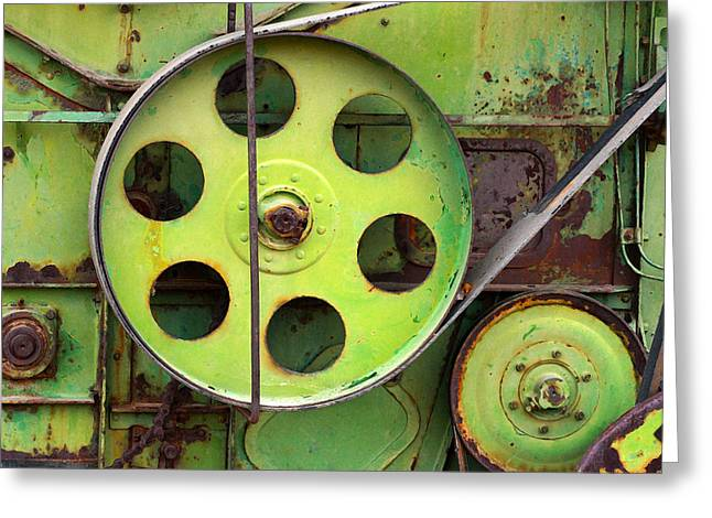 Industrial Gears Greeting Cards - Wheels Belts and Bolts Greeting Card by Art Block Collections