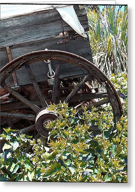Wagon Wheels Digital Art Greeting Cards - Wheels In The Garden Greeting Card by Glenn McCarthy Art and Photography