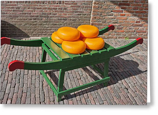 Wooden Platform Greeting Cards - Wheels of Dutch Gouda Cheese Greeting Card by Artur Bogacki