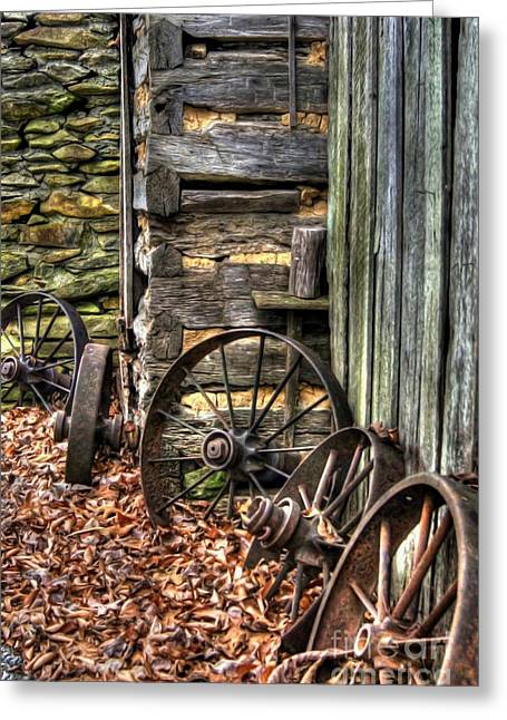 Log Cabins Greeting Cards - Wheels of Time Greeting Card by Benanne Stiens
