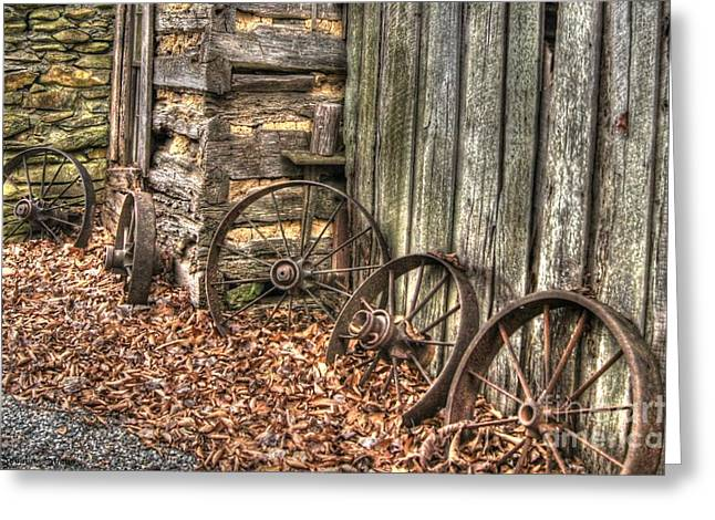 Spokes Greeting Cards - Wheels of Time Two Greeting Card by Benanne Stiens