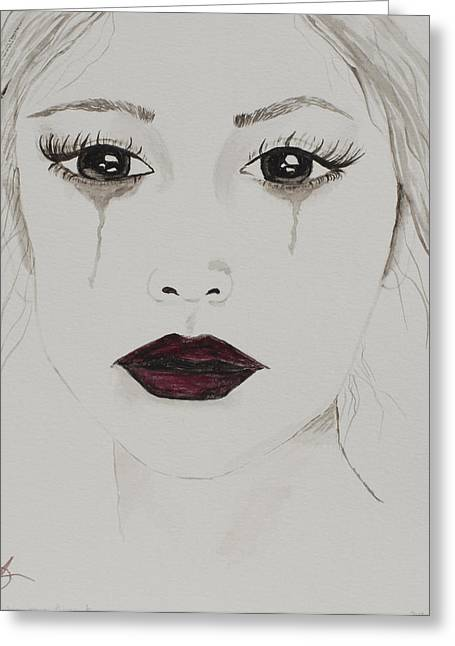 Tears Greeting Cards - When a Soul Cries Greeting Card by Amy Perry