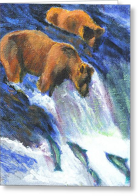 Salmon Paintings Greeting Cards - When Bears go Fishin Greeting Card by David Zimmerman
