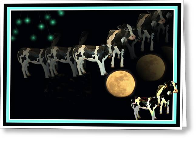 Moos Greeting Cards. Greeting Cards - When Cows Jump Over The Moon Greeting Card by Joyce Dickens