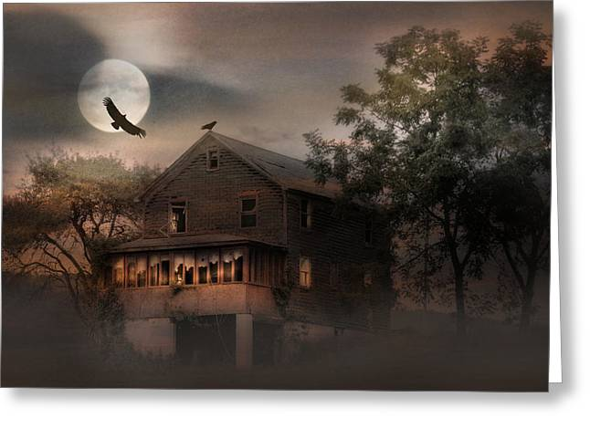 Creepy Digital Art Greeting Cards - When Dead Leaves Fly Greeting Card by Lori Deiter