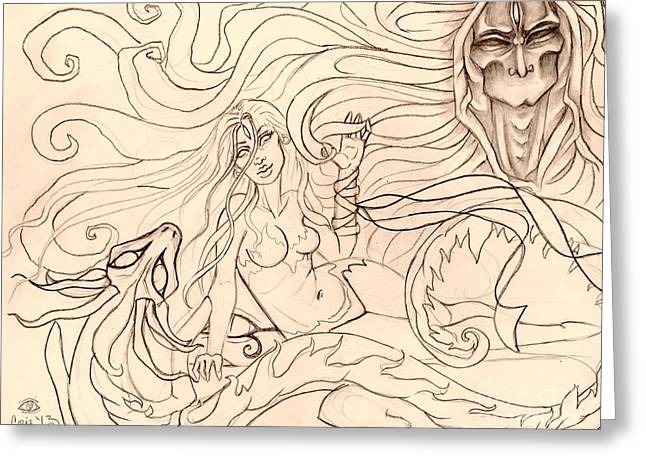 When Demons And Dragons Clash Sketch Greeting Card by Coriander  Shea