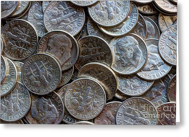 Invest Greeting Cards - When Dimes Were Made Of Silver Greeting Card by Heidi Smith