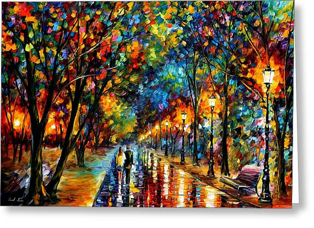 When Dreams Come True - Palette Knlfe Landscape Park Oil Painting On Canvas By Leonid Afremov Greeting Card by Leonid Afremov