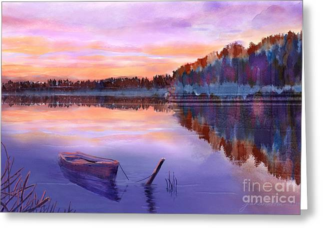 Joan A Hamilton Greeting Cards - When Evening Falls  Greeting Card by Joan A Hamilton