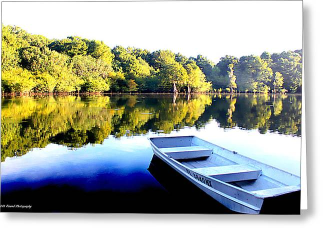 Reflections Of Trees In River Greeting Cards - When Everyone Sleeps Greeting Card by Debra Forand