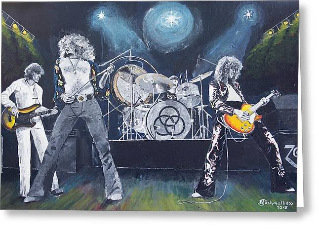 Led Zeppelin Prints Greeting Cards - When Giants Rocked The Earth Greeting Card by Bruce Schmalfuss