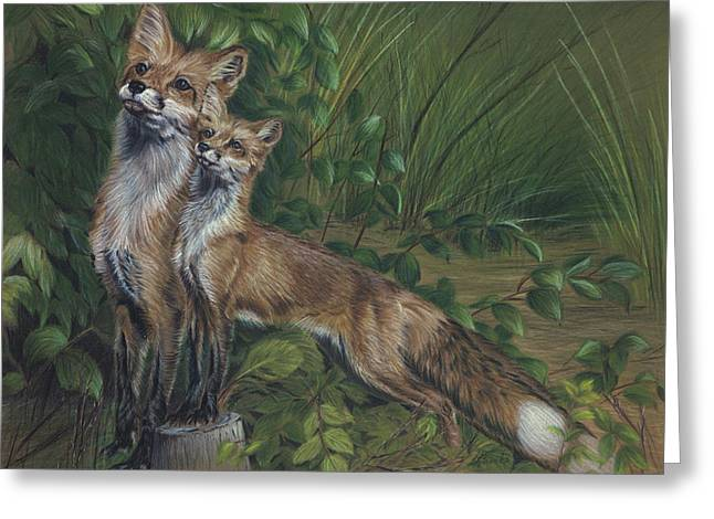 Fox Kit Paintings Greeting Cards - When I Grow Up Greeting Card by Sandy Brooks