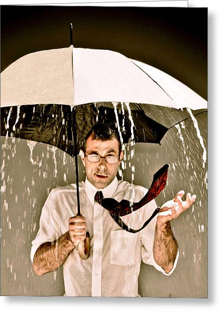 When It Rains It Pours Greeting Card by Tank's Takes