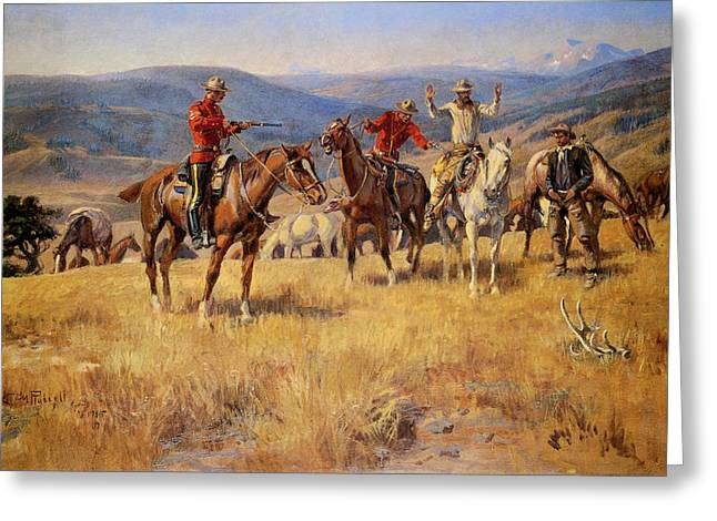 Western Western Art Greeting Cards - When Law dulls The Edge of Chance Greeting Card by Charles M Russell