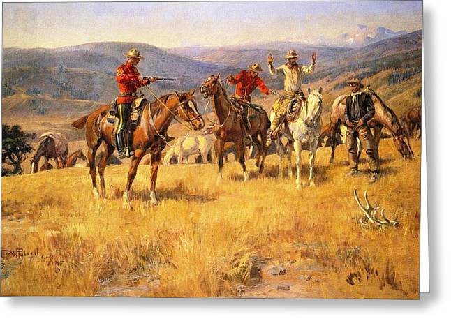 Wild Horses Greeting Cards - When Law Dulls the Edge of Chance Greeting Card by Charles Russell