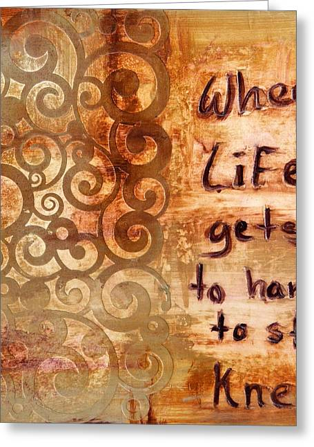 Contemporary_art Greeting Cards - When Life Gets to Hard to Stand Kneel Greeting Card by Ivan Guaderrama