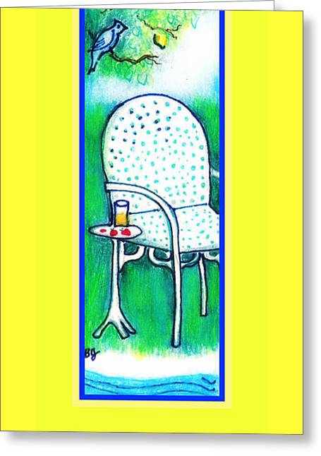 Lawn Chair Mixed Media Greeting Cards - When Life Hands You A Lemon Greeting Card by Barbara LeMaster