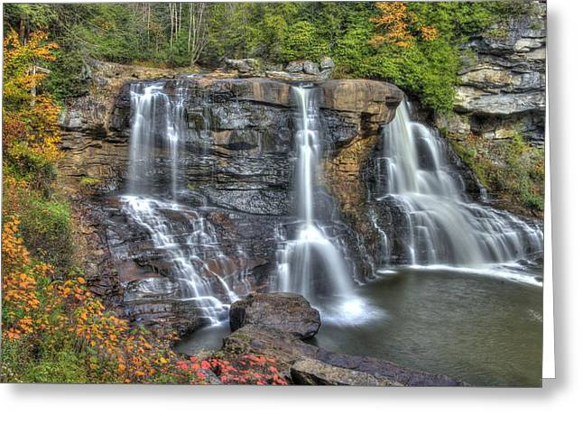 Hdr Landscape Greeting Cards - When Light and Water Falls-2A Three Cascades Over Blackwater Falls State Park WV Autumn Mid-Morning Greeting Card by Michael Mazaika