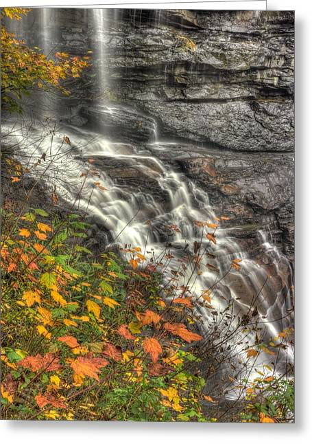 Hdr Landscape Greeting Cards - When Light and Water Falls-5A Blackwater Falls State Park WV Autumn Mid-Morning Greeting Card by Michael Mazaika